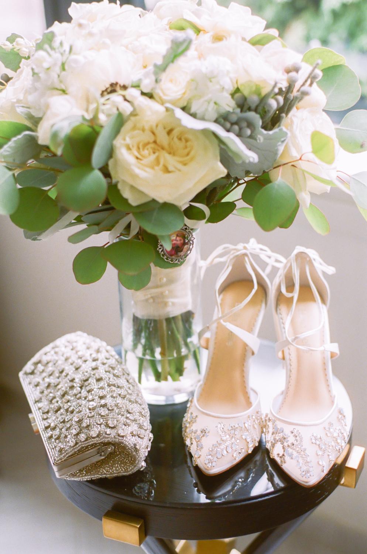 Bella Belle Wedding Shoes, white wedding bouquet, St. Louis fine art wedding photographer