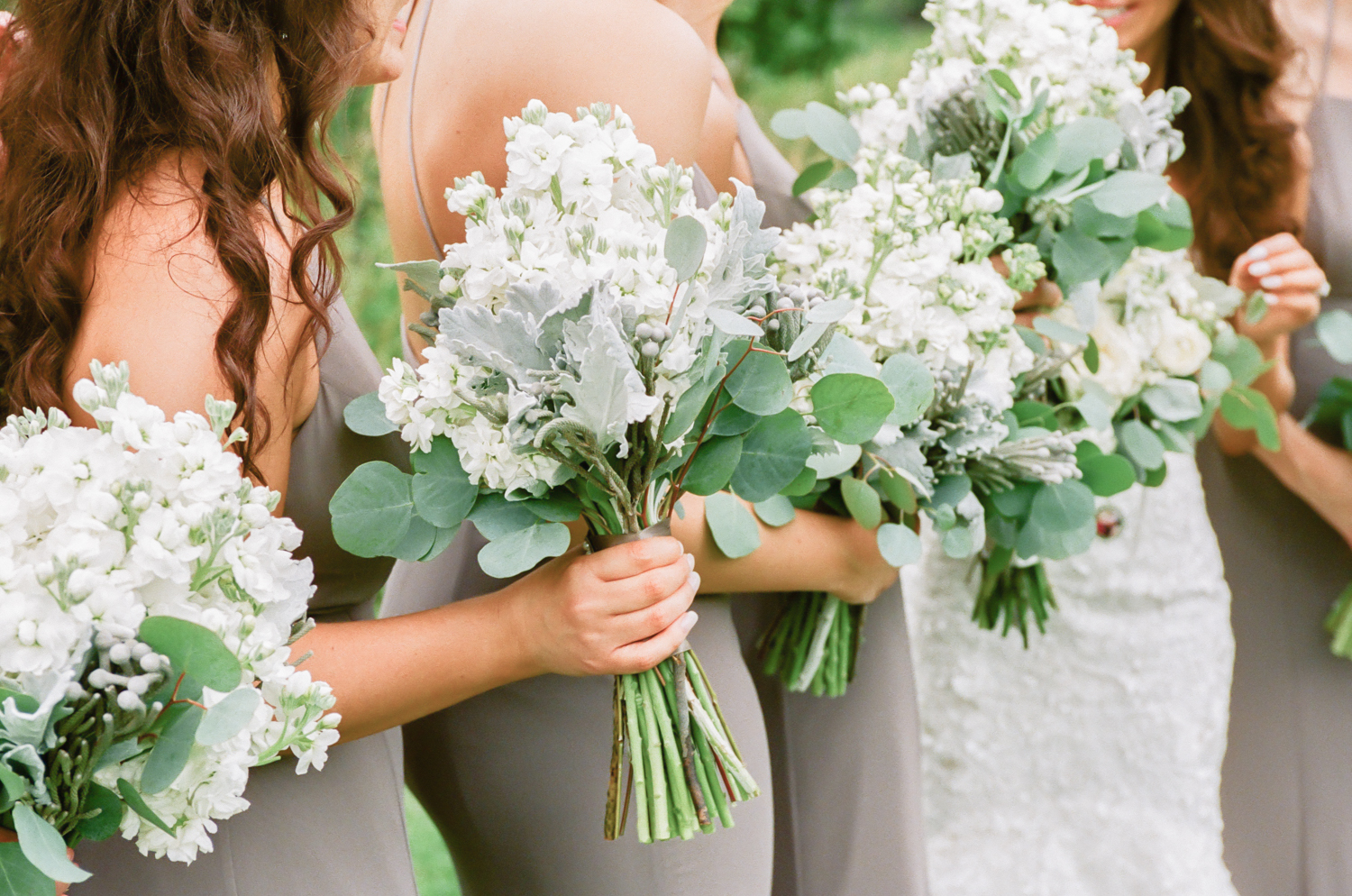 White bridesmaid bouquets with greenery by Events Floral Simply, Midwest fine art wedding photography