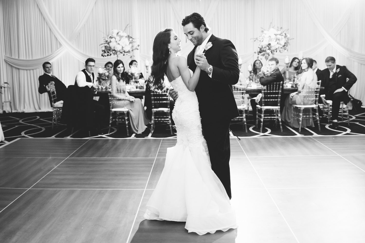 Bride and groom first dance at Gwen Hotel Chicago, Chicago wedding photographer