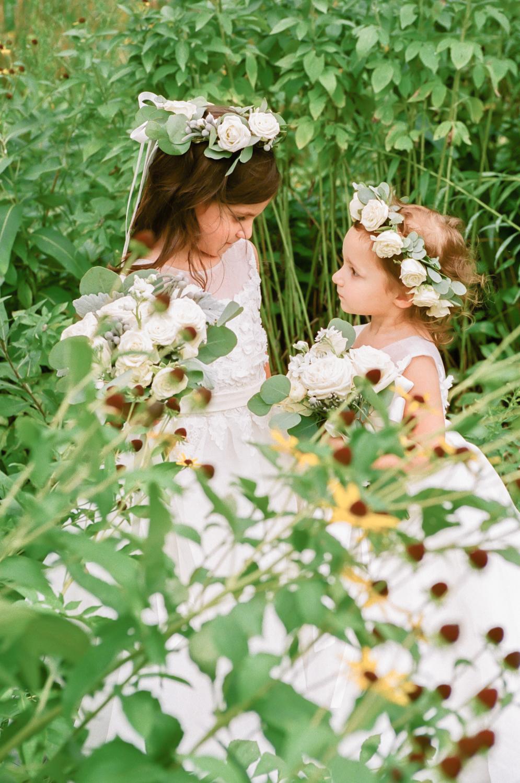 Flower girls with flower crowns, St. Louis fine art wedding photographer Erica Robnett Photography