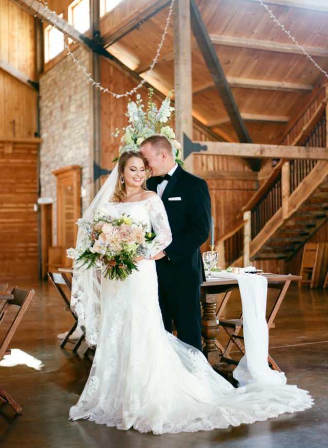 Bride and Groom at Mighty Oak Lodge St. Louis Fine Art Film Wedding Photographer, Erica Robnett Photography