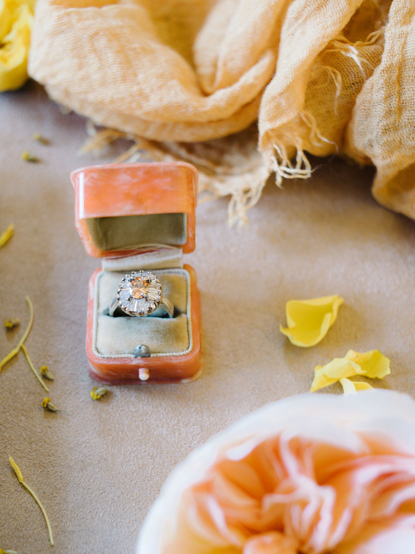 Vintage engagement ring in peach ring box; St. Louis Fine Art Film Wedding Photographer Erica Robnett Photography