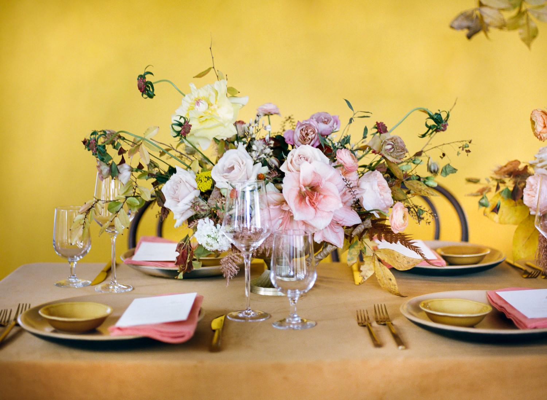 Yellow and pink wedding reception decor; St. Louis Fine Art Film Wedding Photographer Erica Robnett Photography