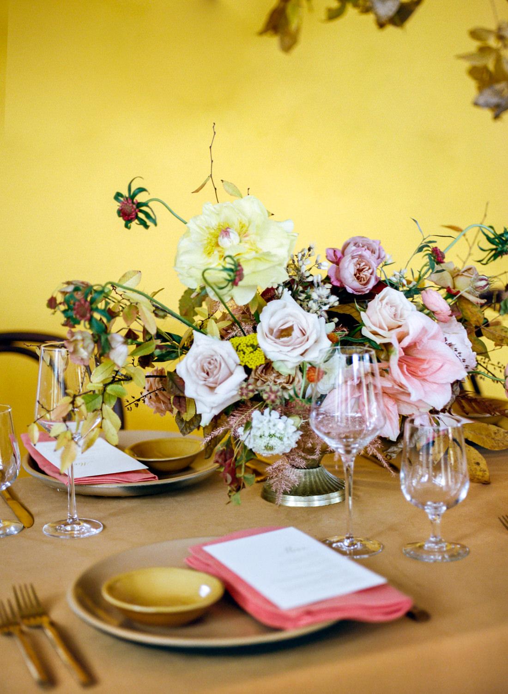 Pink and yellow wedding reception flowers; St. Louis Fine Art Film Wedding Photographer Erica Robnett Photography