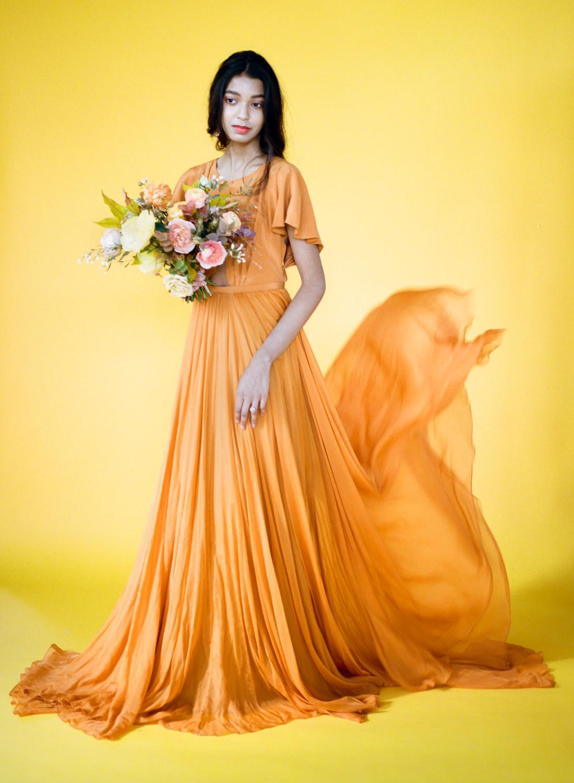 Orange Leanne Marshall gown; St. Louis Fine Art Film Wedding Photographer Erica Robnett Photography