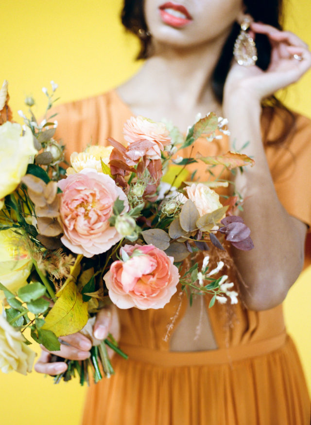 Peach bridal bouquet; St. Louis Fine Art Film Wedding Photographer Erica Robnett Photography